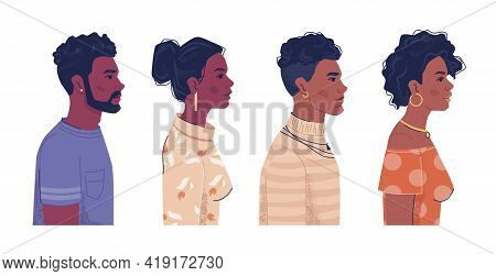 Diverse People, Afro American Men And Women Side View Portraits, Flat Cartoon. Ebony, Black African