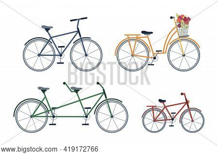 Set Of Adult And Kids Bicycles, Two-seater Bike, With Blooming Flowers Isolated Icons Set. Cycling T