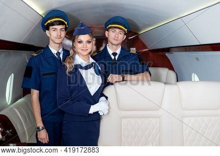 Flight Attendants And Pilots, Aircraft Crew Welcome Aboard,