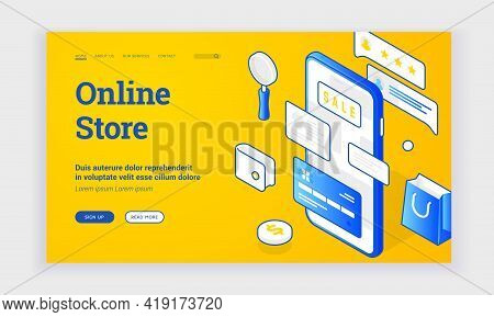 Online Store Landing Page Template. Banner Of Modern Web Page Design With Blue Icons And Information