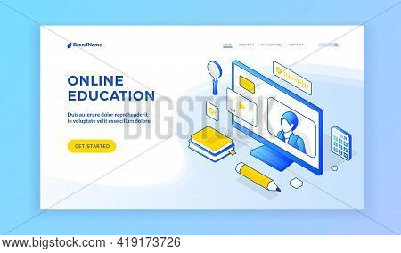 Online Education. Isometric Landing Page Template. Homepage Design With Blue Icons Of Computer And S