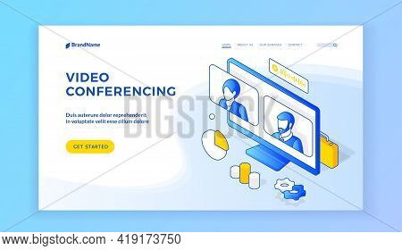 Video Conferencing. Isometric Vector Illustration Of Computer Monitor With People Avatars On Banner