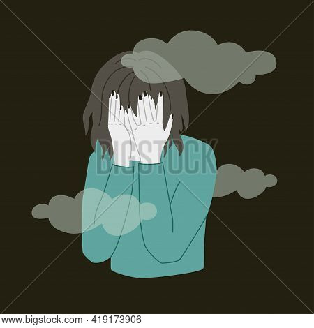 Depressed Person Hides Face In Her Palms. Vector Illustration Of Sad Human Over Black Background. Me