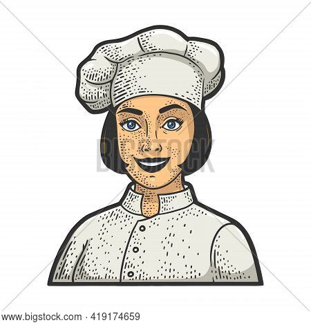 Chef Girl In Chef Hat Toque Color Sketch Engraving Vector Illustration. T-shirt Apparel Print Design