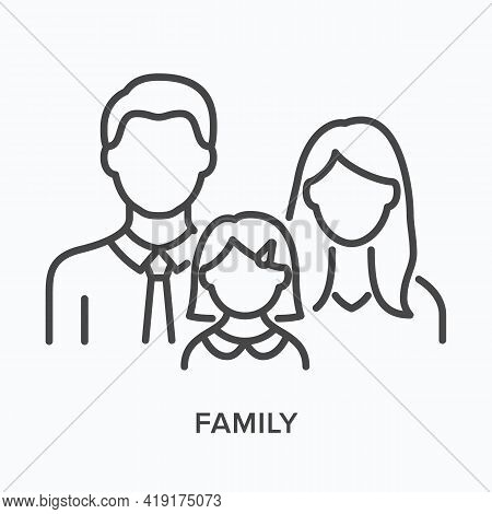 Family With Little Girl Flat Line Icon. Vector Outline Illustration Of Parent. Black Thin Linear Pic