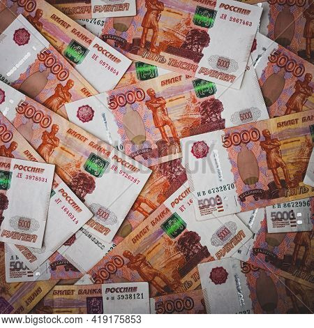 Rubles Background. Russian Money Banknotes Of Five Thousand Rubles, Scattered All Over The Surface.
