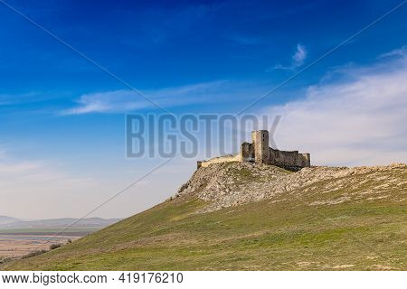 View Of The Enisala Fortress In Dobrogea, Romania. Amazing Landscape Of This Medieval Fortress Sitti