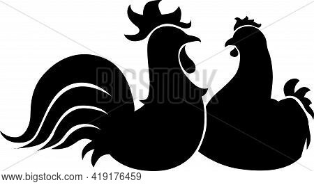 Hen And Rooster Cock Illustration Of Farm Bird Animal - Black And White Poultry  Art Sketch Logo Sim