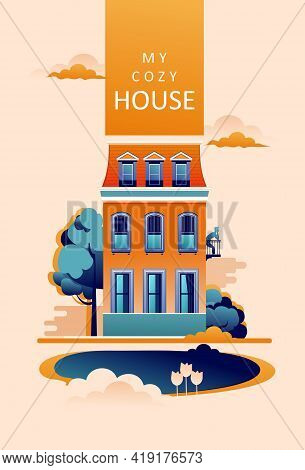 Vertical Poster For Typography Or Print Rural Countryside Mansion, Cozy House, Vector Illustration