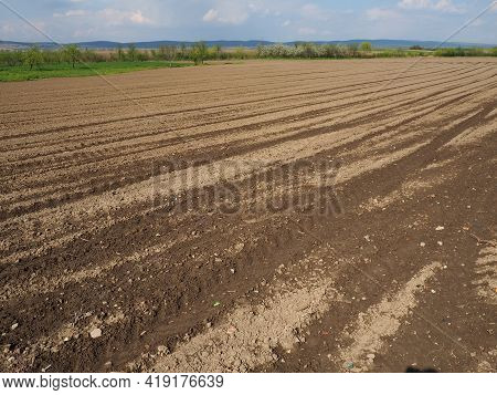 Landscape With Agricultural Land Plowed, Prepared For Harvest. Agricultural Landscape, Arable Land F