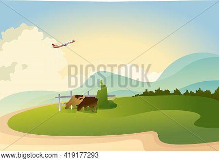 Horizontal Banner, Vector Illustration, Rural Landscape On A Hot Summer Day, Cows Graze Pasture