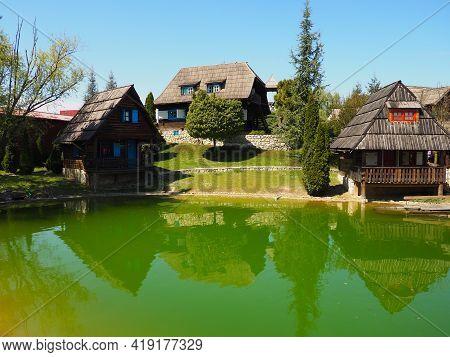 Stanisici, Bijelina, Bosnia And Herzegovina. April 25, 2021 Ethno-village, Traditional Village House