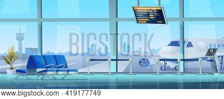 Interior Of Airport Terminal Waiting Room, Empty Rows Of Seats, Airplane And Control Tower Outside W