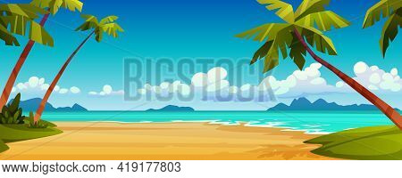 Cartoon Summer Beach, Ocean Or Sea Shore, Paradise With Yellow Sand, Palm And Blue Tranquil Water. V