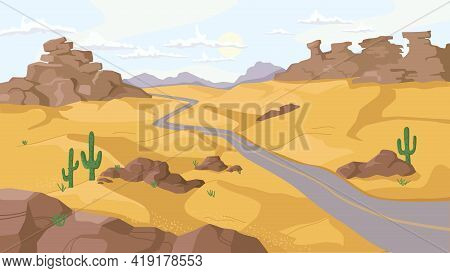 Desert With Rocky Mountains And Hills Of Sand, Growing Cactus Plants Along Path, Flat Cartoon Design