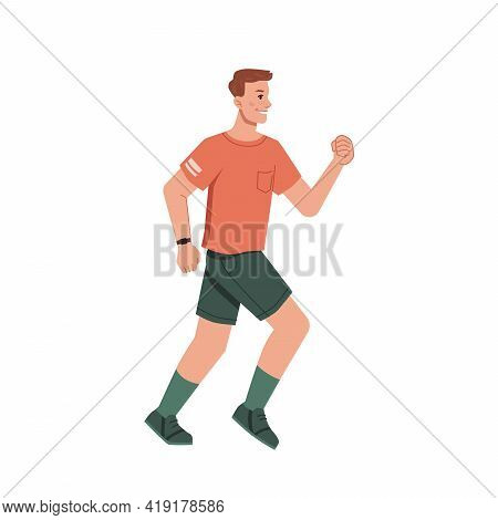 Running Jogging Man In Casual Cloth Isolated Flat Cartoon Character. Vector Side View Of Guy With Ba