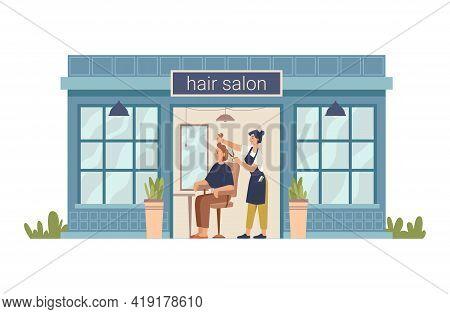 Hair Salon, Hairdresser Cuts Client Woman, Making Stylish Haircut. Vector Barber Beauty Shop Flat Ca