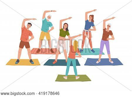 Fitness Yoga Classes With Trainer Instructor, Healthy Man Woman Doing Sport Exercises Standing On Ma
