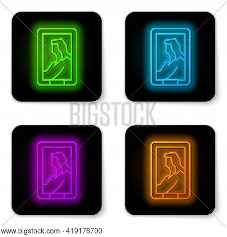 Glowing Neon Line Portrait Picture In Museum Icon Isolated On White Background. Black Square Button.