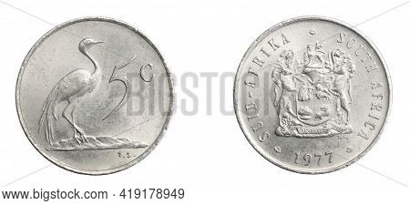 South Africa Five Cents Coin On A White Isolated Background
