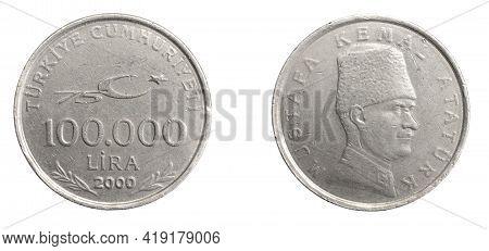 Turkey One Hundred Thousand Lira Coin On White Isolated Background