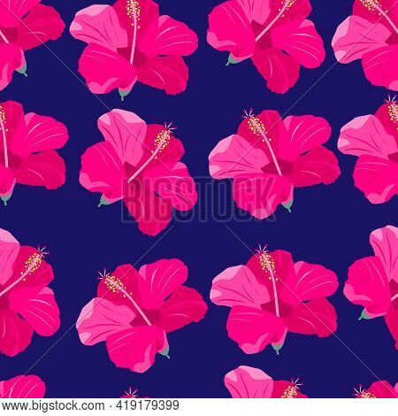 Pink Tropical Flowers. Seamless Pattern. Exotic Paradise Flowers. Bright Stock Vector Illustration O