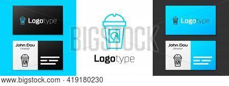 Blue Line Coffee Cup To Go Icon Isolated On White Background. Take Away Print. Logo Design Template