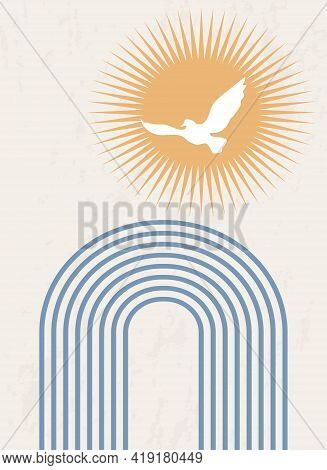 Abstract Poster With Geometric Shapes And Lines. Rainbow Print And Sun With Bird, Boho Style. Modern