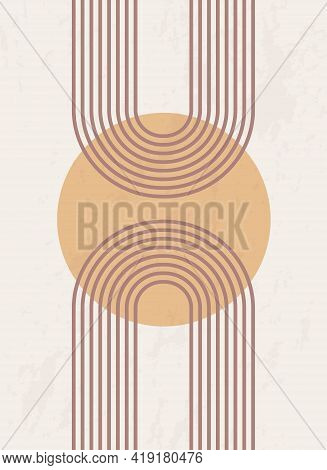 Abstract Poster With Geometric Shapes And Lines. Rainbow Print And Sun Circle, Boho Style. Modern Mi