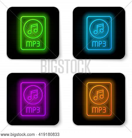 Glowing Neon Line Mp3 File Document. Download Mp3 Button Icon Isolated On White Background. Mp3 Musi