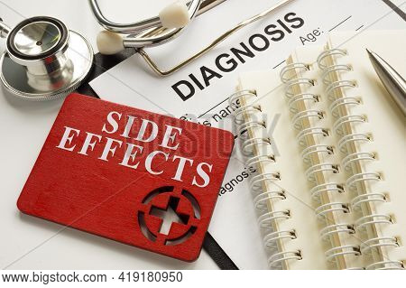 Medical Side Effects Plate Diagnosis Form And Stethoscope.