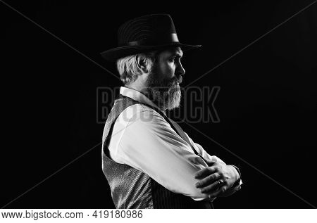 Mafia Gentlemen Club. Mature Cowboy. Detective Acknowledgement Or Greeting. Trilby Hat. Man In Vinta
