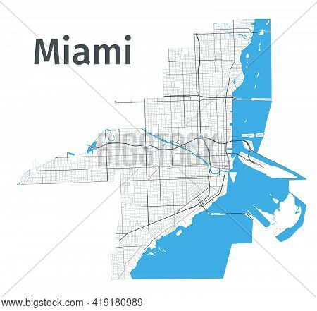 Miami Map. Detailed Map Of Miami City Administrative Area. Cityscape Panorama. Royalty Free Vector I