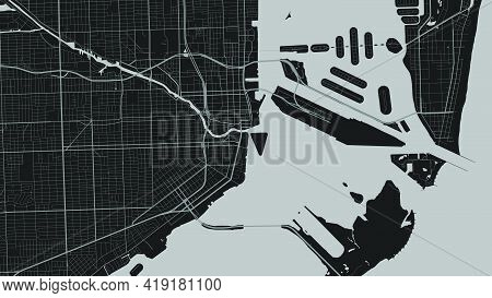 Dark Grey And Black Miami City Area Vector Background Map, Streets And Water Cartography Illustratio