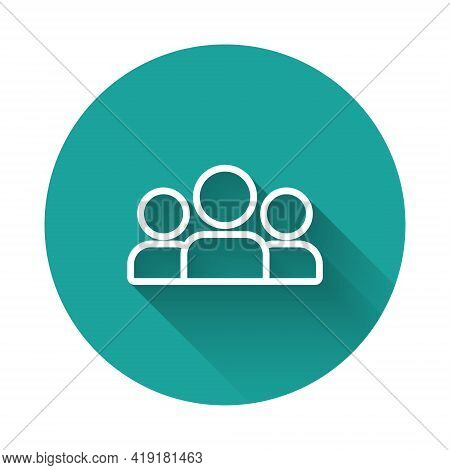 White Line Users Group Icon Isolated With Long Shadow. Group Of People Icon. Business Avatar Symbol