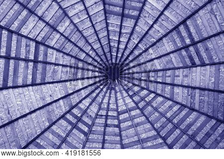 Wooden Roof From Bottom In Blue Tone. Abstract Pattern And Background.
