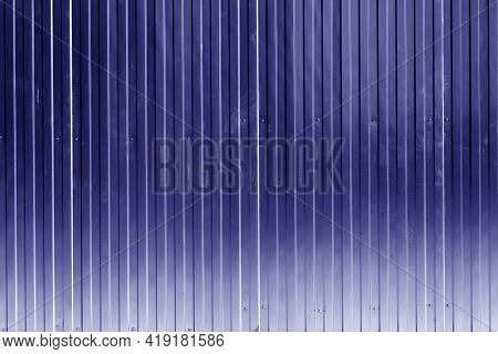 Metal Sheet Fence Texture In Blue Color. Architectural And Construction Background