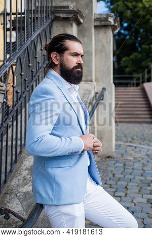 Brutal Bearded Man In Formalwear. Fashionable Bride Groom Outdoor. Mature Hipster