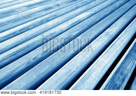 Wooden Planks Texture In Navy Blue Tone. Abstract Background And Texture For Design.