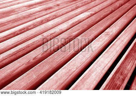 Wooden Planks Texture In Red Tone. Abstract Background And Texture For Design.