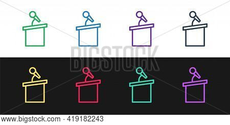 Set Line Stage Stand Or Debate Podium Rostrum Icon Isolated On Black And White Background. Conferenc