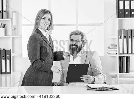 Business Partnership Success. Modern Office Life. Together In Business. Businesspeople In Office. Bu