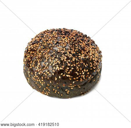 Black Baked Bun With Sesame Seeds Isolated On White Background, Fast Food