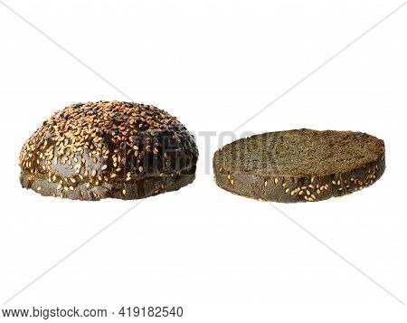 Two Halves Of A Black Sesame Seed Bun, Grilled, Fast Food