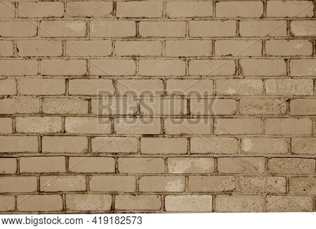 Pattern Of Brick Wall With Blur Effect In Brown Tone. Abstract Architectural Background And Texture