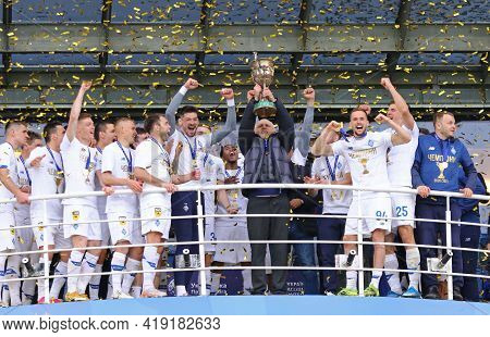 Kyiv, Ukraine - April 25, 2021: Fc Dynamo Kyiv Players Celebrate After Winning The Ukrainian Premier