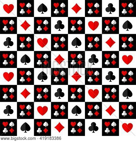 Vector Square Game Seamless Pattern With Card Suits Of Cards On The Chessboard.