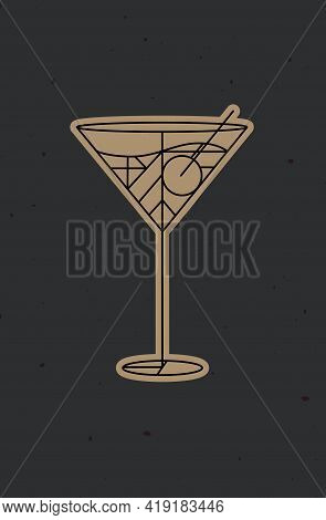 Art Deco Cocktail Cosmopolitan Drawing In Line Style On Dark Background