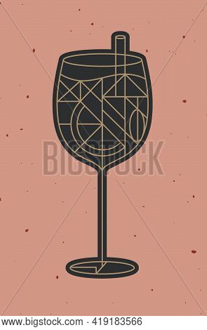 Art Deco Cocktail Spritz Drawing In Line Style On Powder Coral Background
