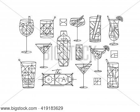 Art Deco Cocktails Set Drawing In Line Style On White Background